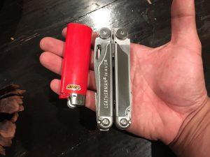 Leatherman Wave size comparison against a bic lighter