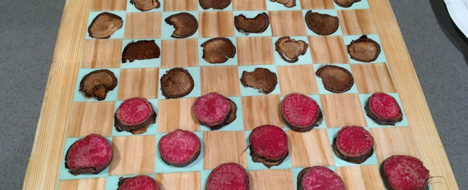 DIY Christmas Gift Inlayed Checkers Board
