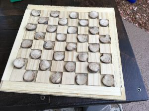 oak and pine diy gift checkers board