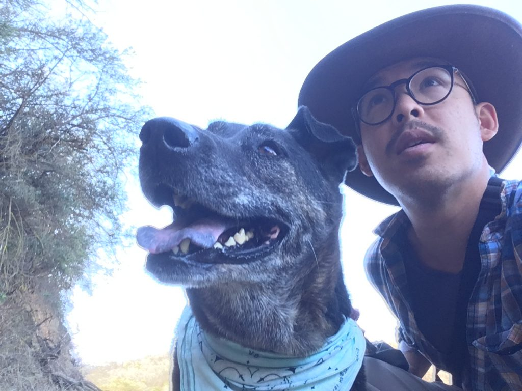 wearing stetson hat with dog
