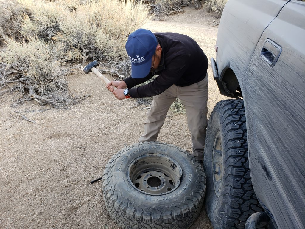 fixing a bent wheel on trail