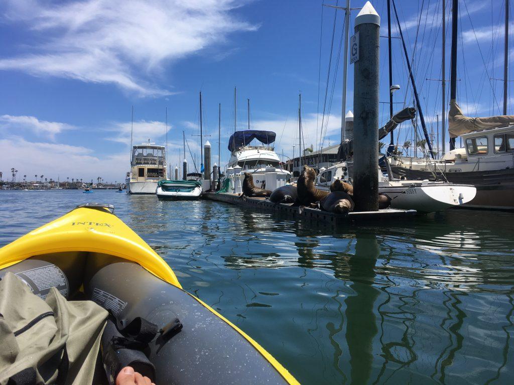 inflatable fishing kayak intex explorer k2 on ocean