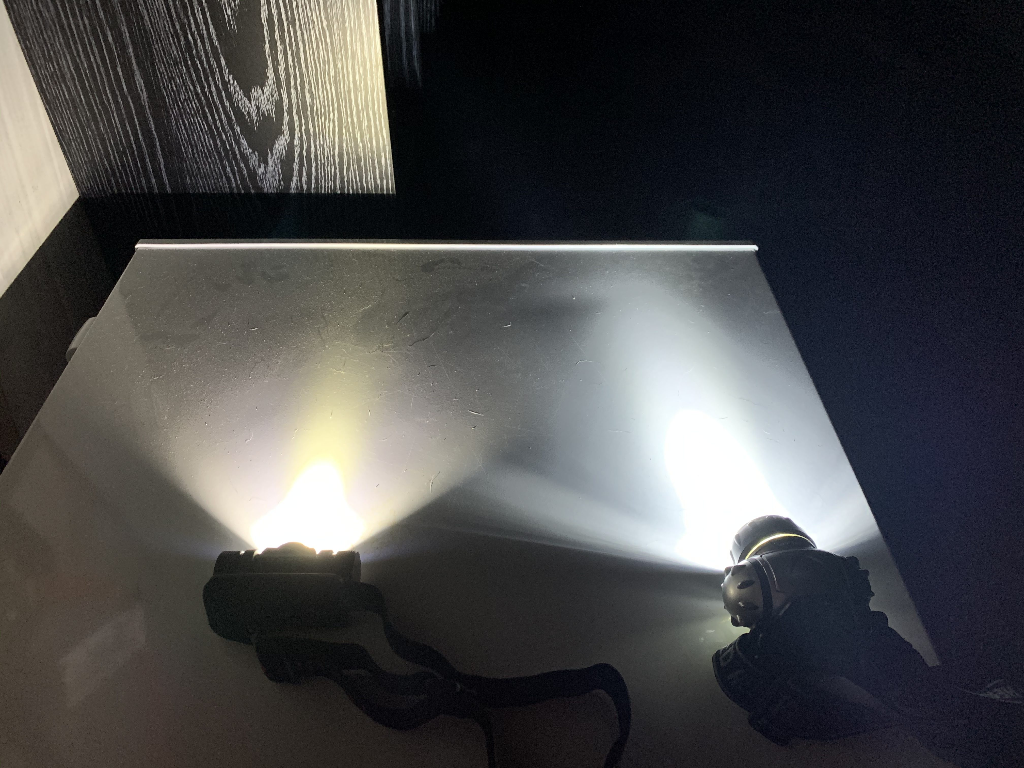 Thrunite TH20 on high power compared to a normal headlamp
