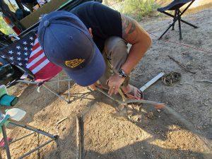 bow drill divot on a pocket knife