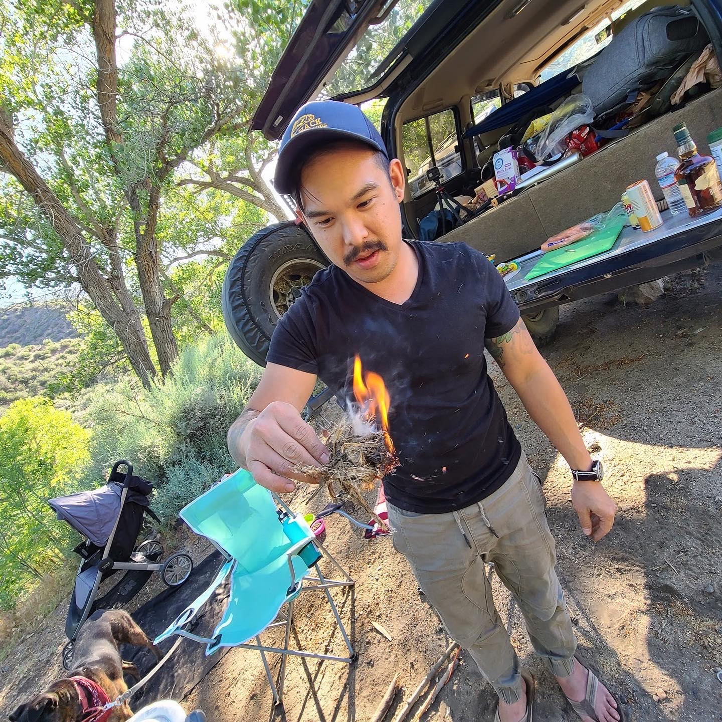 friction fire with a pocket knife bow drill