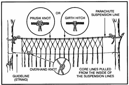 paracord uses - how to make a gill net