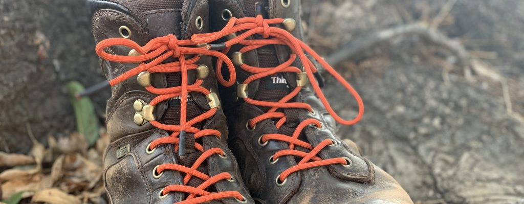 hunter orange diy paracord shoelaces on brown boots