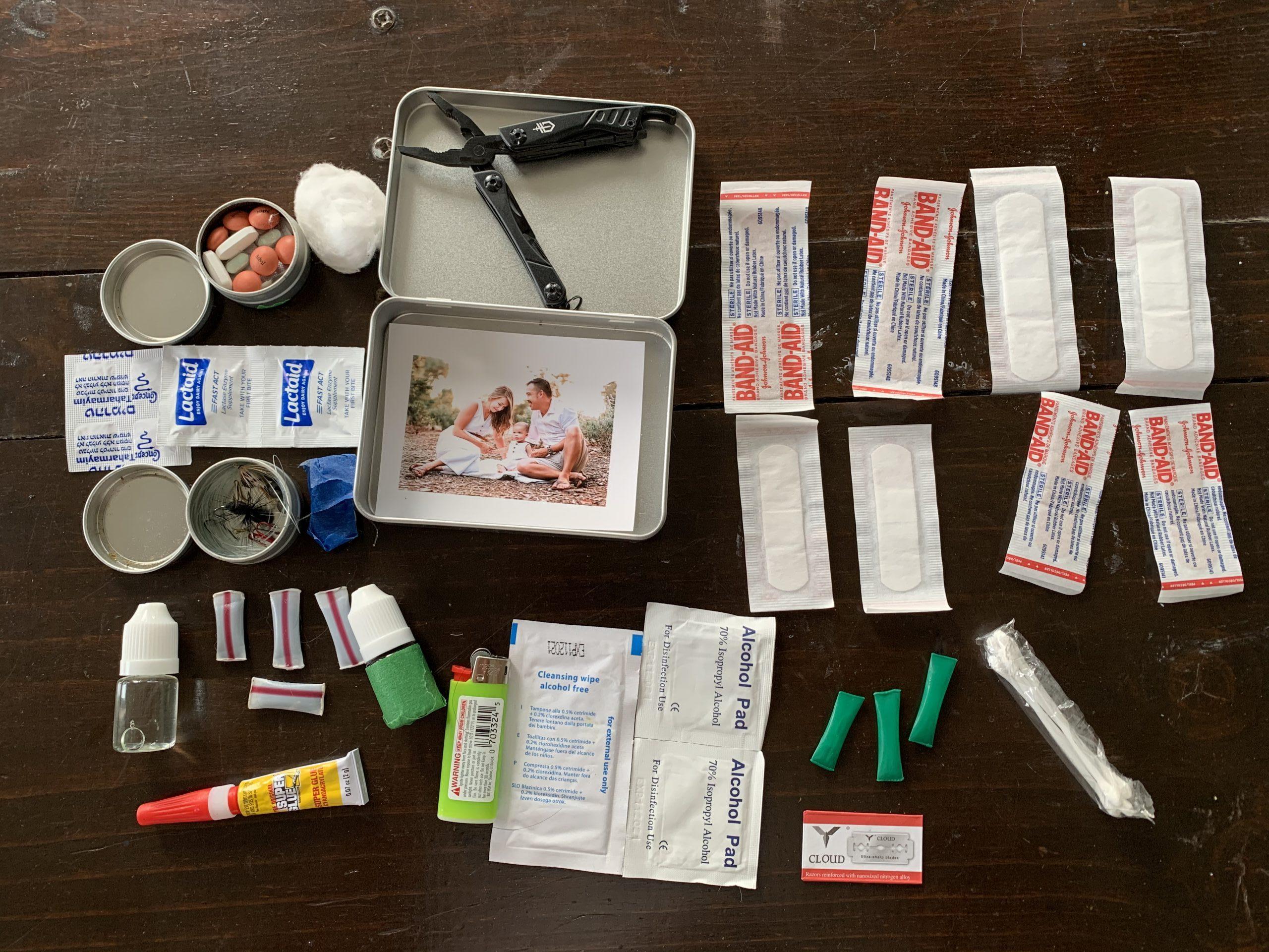 backcountry survival kit in altoids tin